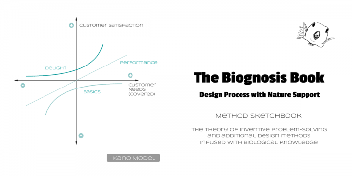 Drawing of the Kano model & Biognosis Book description text