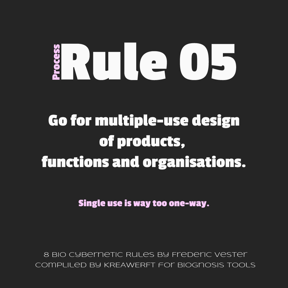 Frederic Vester Process Rule - Go for multiple-use design of products, functions and organisations.